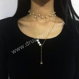 Smoky Quartz Pearl Necklace Double Necklace Set Gold Plated HD0241
