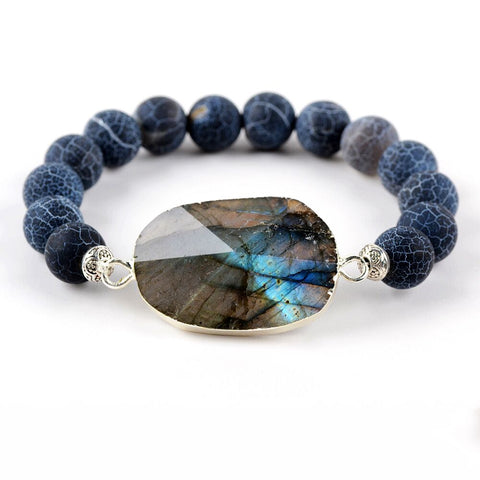 Silver Plated Natural Labradorite Agate Bead Bracelet HD0251