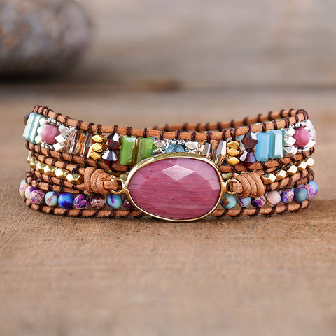 Genuine Rhodochrosite Beaded Healing Wrap Bracelet HD0273