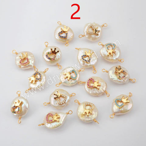 Gold plated Natural Pearl With Multi CZ Connector WX1266