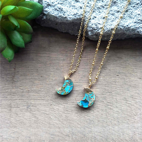Crescent Moon Gold Tiny Turquoise Charm Necklace G2039