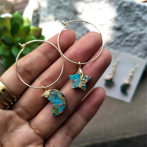Star Moon Hoop Tiffany Turquoise Earrings G2039-E