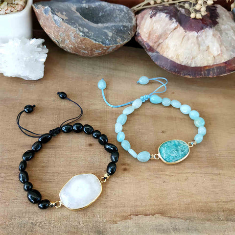 Natural Black agate Solar Quartz Amazonite Bead Bracelet AL305