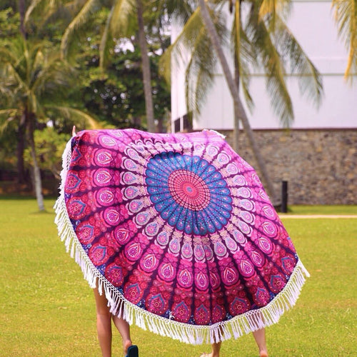 Sacred Circles Round Throw With Tassels - Pure People