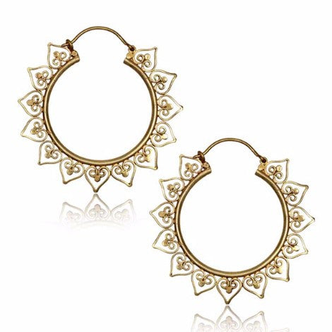 Brass Mandala Goddess Clasp Earrings