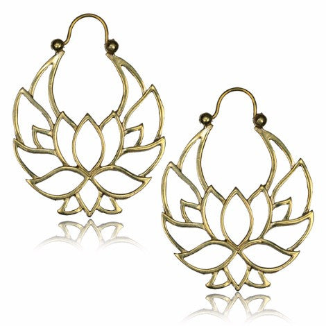 Brass Lotus Outline Clasp Earrings-Pure People