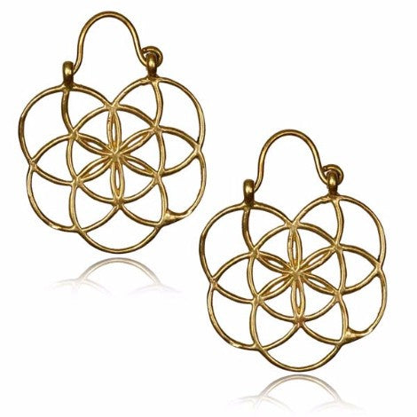 Brass Seed of Life Clasp Earrings (White Brass)