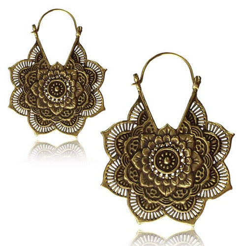 Brass Calypso Mandala Clasp Earrings-Pure People