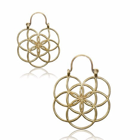 Brass Seed of Life Clasp Earrings