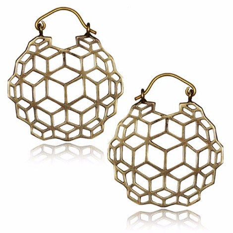 Brass Hexagon Clasp Earrings-Pure People