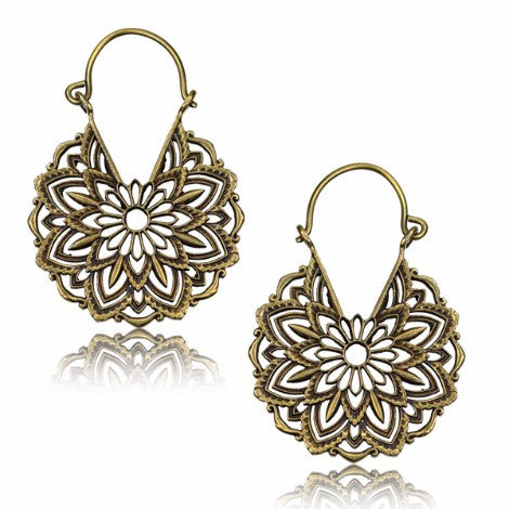 Brass Flower Mandala Clasp Earrings