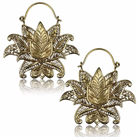 Brass Lotus Clasp Earrings - Pure People