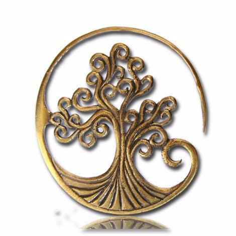 Brass Tree of Life Spiral Earring