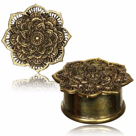 Brass Mandala Plug / Tunnel