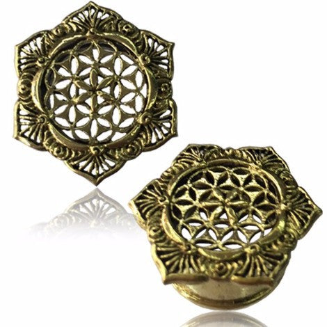 Brass Flower of Life Plug / Tunnel - Pure People
