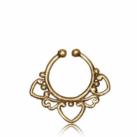 Brass 3 Point Outlined Clip On Septum Ring