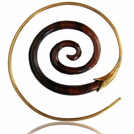 Brass & Wooden Spiral Earring-Pure People