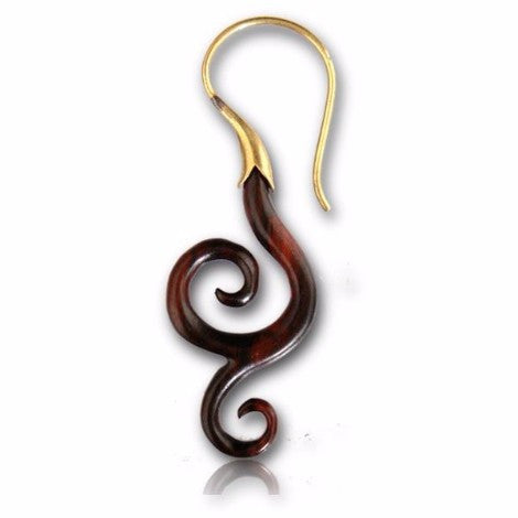 Brass & Wooden Dangling Double Spiral Earrings
