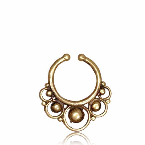 Brass 5 Pointed Double Circle Clip On Septum Ring - 25% OFF