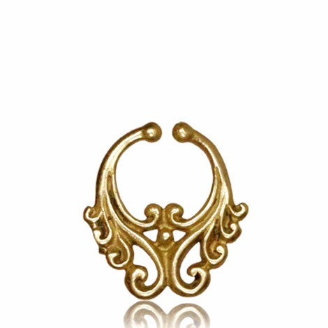 Brass Dragonfire Clip On Septum Ring