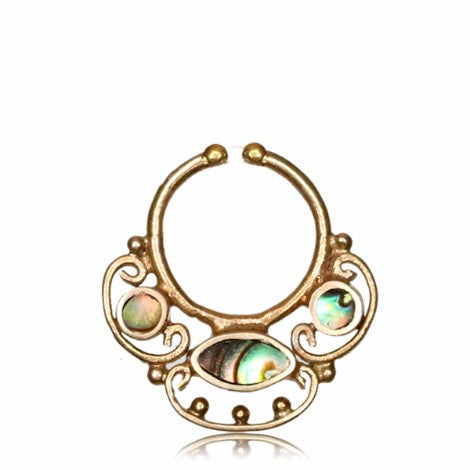 Brass Mermaid Clip On Septum Ring