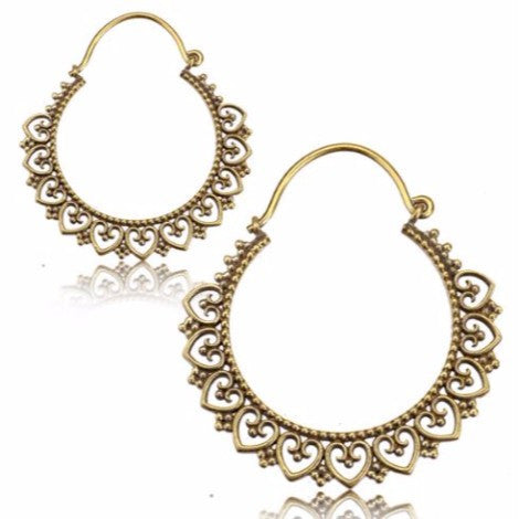 Brass Small Mandala Clasp Earrings