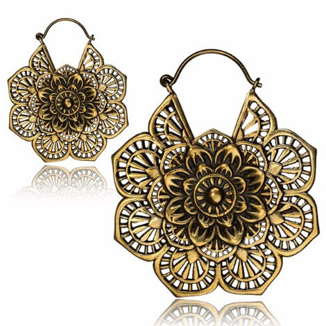 Brass Mandala Clasp Earrings-Pure People
