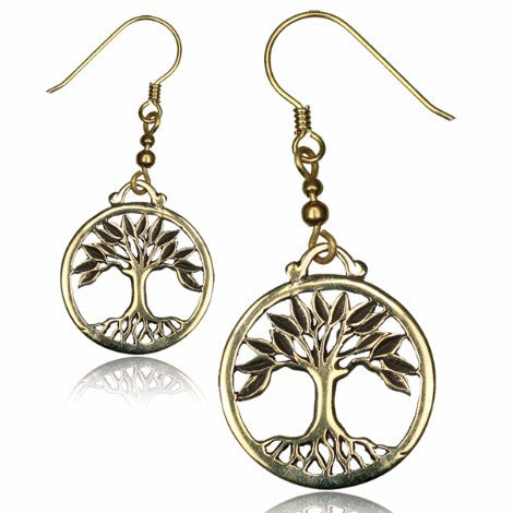 Brass Tree of Life Earrings-Pure People