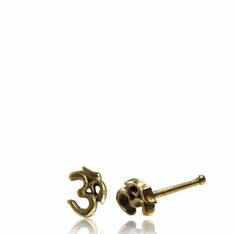 Brass Om Nose Pin - Pure People