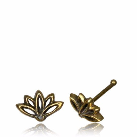 Brass Lotus Nose Pin - Pure People