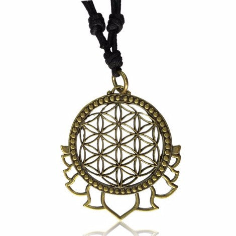 Brass Lotus Flower of Life Pendant - Pure People