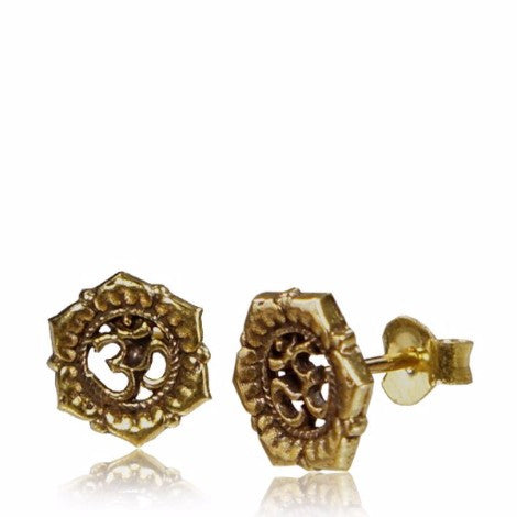Brass Om Stud Earrings-Pure People