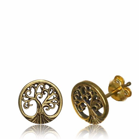Brass Tree of life Stud Earrings-Pure People