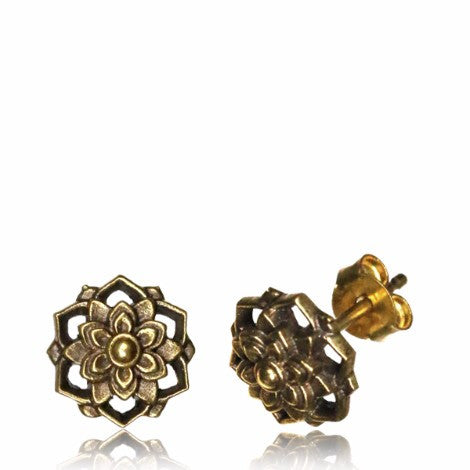 Brass Mandala Stud Earrings-Pure People