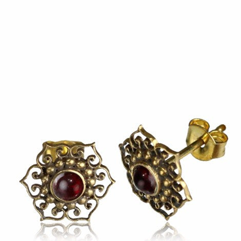Brass Mandala Garnet Stud Earrings-Pure People