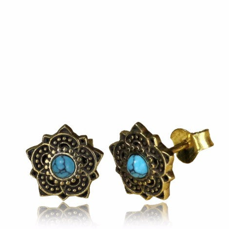 Brass Turquoise Mandala Stud Earrings-Pure People