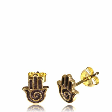 Brass Hamsa Stud Earrings - Pure People