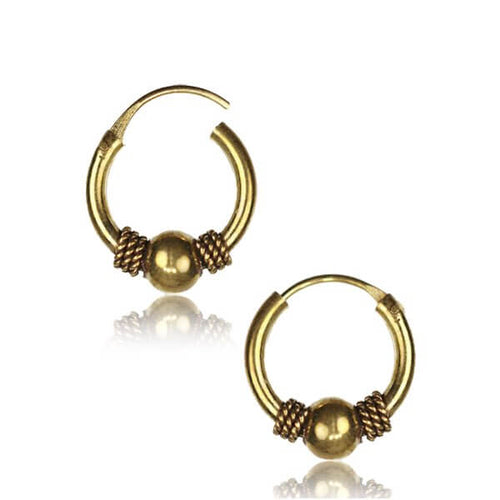 Brass Stoned Gypsy Earrings - Pure People