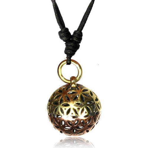 Brass & Copper Flower of Life Ball Pendant-Pure People