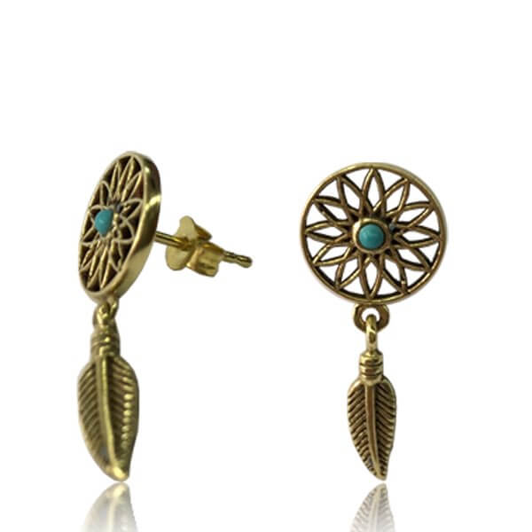 Brass Dreamcatcher Stud Earrings - Pure People