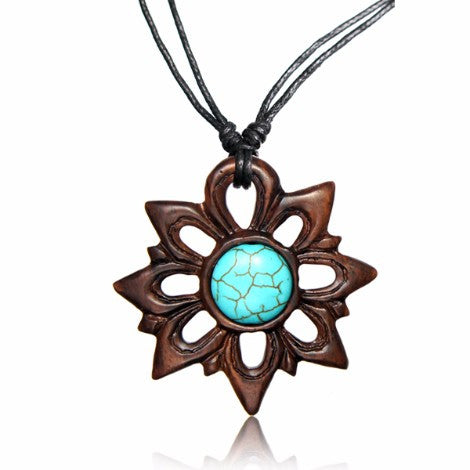 Wooden Flower Mandala Pendant-Pure People
