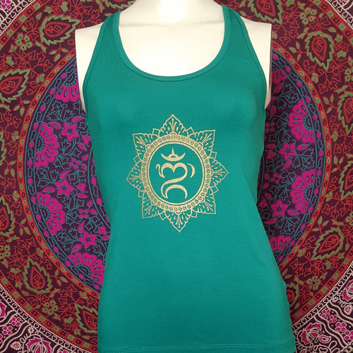 Balinese Om Mandala Tank Top With Criss Cross Back