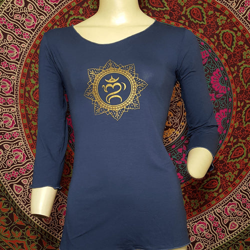 Balinese Om Mandala 3/4 Sleeve Top - Pure People