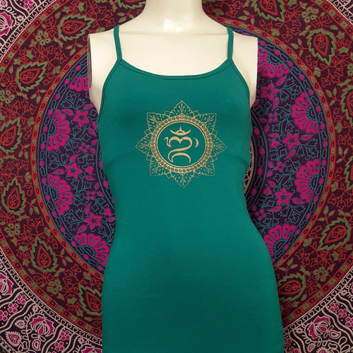 Balinese Om Mandala Spaghetti Strap Top With Bra And Racer Back
