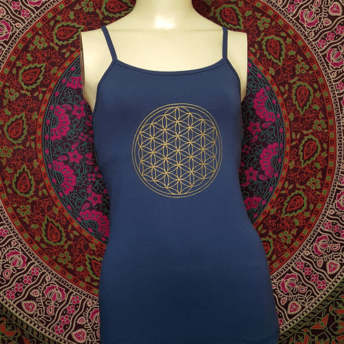 Flower of Life Spaghetti Strap Top With Bra
