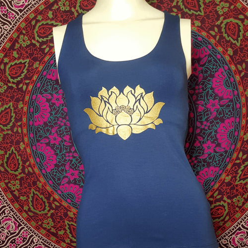 Lotus Tank Top With Woven Criss Cross Back