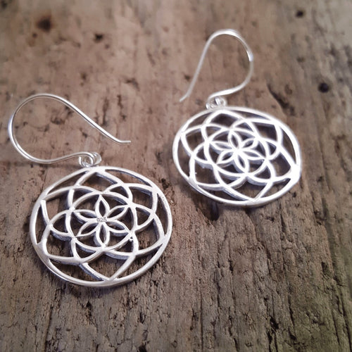 Silver Seed of Life Earrings - Pure People