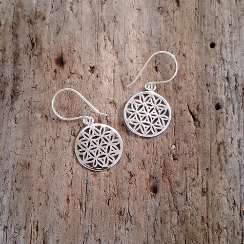 Silver Flower of Life Earrings - Pure People
