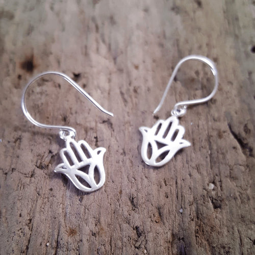 Silver Hamsa Earrings - Pure People