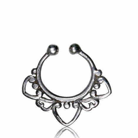Silver 3 Pointed Clip On Septum Ring
